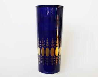 Vintage German Tall Cobalt Blue Gold Cylinder Porcelain Vase - Heinrich 70s
