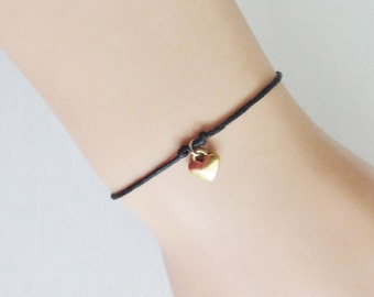 Gold Heart Bracelet or Anklet, Valentines Day Gift, Gifts For Her, BFF, Best Friend, Friendship Gift, Golden Heart Jewelry, Mothers Day Gift