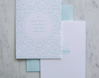 Deep Grief Letterpress Sympathy card, mourning,