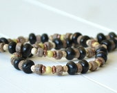 Mens Necklaces - Gift for Men, Natural Stone Necklace, Jasper Necklace, Black Brown Necklace