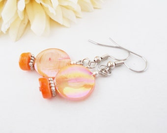 Orange Earrings, Mother of Pearl Shell Earrings, Beaded Earrings, Birthday Gift for Her, Dangle Earrings, Drop Earrings, Petite Earrings
