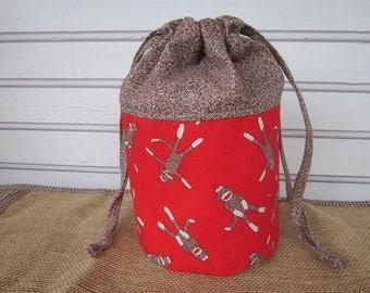 Knitting project bag, crochet bag, sock monkey