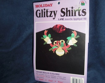 Holiday Glitzy Shirts Lame Iron-On Applique Kit, Bells Galore