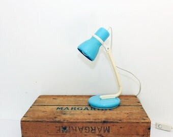Vintage Retro 1960s Baby Blue Lamp - Bedside Lamp - Retro Table Lamp -
