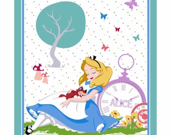 Disney Alice in Wonderland  Cotton fabric 35x44 Panel by Springs Creative Fabric