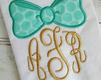 Bow Princess Monogram Personalized Appliqued Embroidered Tshirt or Onesie