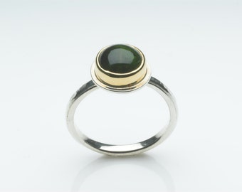 Green Tourmaline and silver ring - October Birth Stone - Silver and Gold ring - non-traditional engagement ring - alternative wedding ring