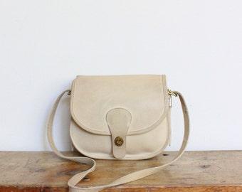Vintage Coach Bag // Coach Saddle Bag NYC Bone White // Coach Saddlery Crossbody Purse Hangbag