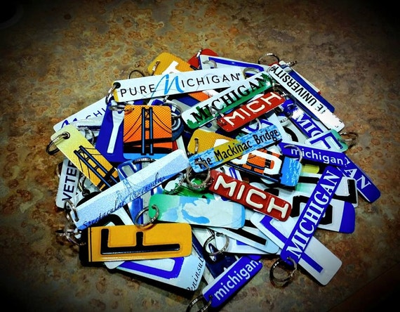 Key Chain,Aluminum,Unique Keychain Made from Recycled License Plates Pick Any Letter, Symbol or Number Includes Keyring