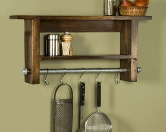 Ivey Farmhouse Industrial Rustic Shelf with Pot Rack / Utensil Holder