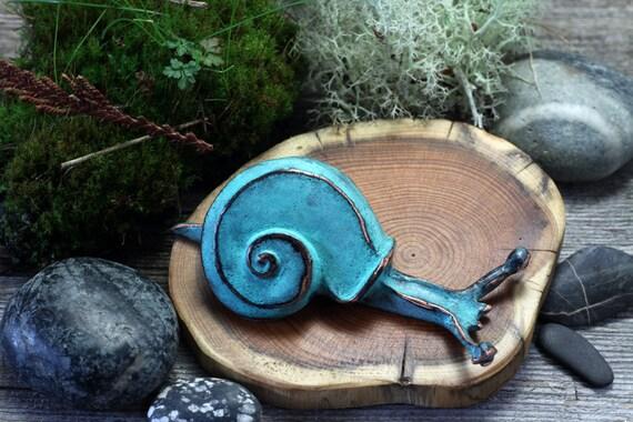 Garden Snail Sculpture in blue green copper patina