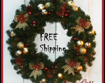 Red & Gold Pine Cone-Evergreen Christmas Holiday Wreath+ FREE Wreath Storage Container, Wreath Hanger + FREE Shipping Domestic Us
