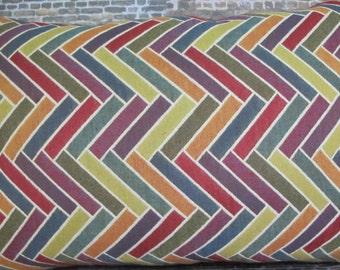 SALE Designer Pillow Cover - 12 x 18, 12 x 20 - Herringbone Vertical Sticks Multi Jacquard