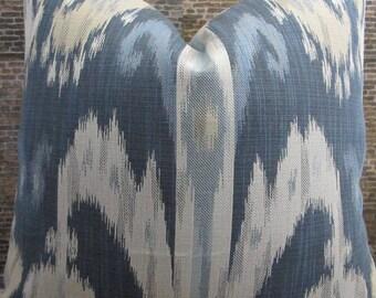 Designer Pillow Cover 16 x 16, 20 x 20, 22 x 22 - Nah Ikat Jacquard - Blue and Tan