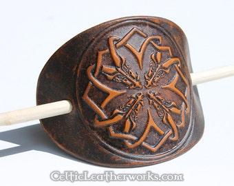 Celtic Dragons Leather Barrette
