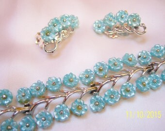 "Vintage Designer Signed ""Star"" Baby Blue Floral Link Bracelet and Clip Earring Set/Demi=Parure"