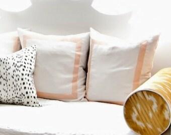 "Custom Listing for Whitney- Fretwork Frame Ivory Linen with Peach Tape Trim- Pillow Cover 22"""