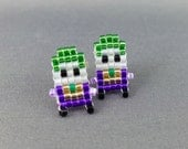 Joker Earrings - Batman Villain Earrings Pixel Earrings Comic Earrings 8-bit Jewelry Seed Bead Earrings Pixel Jewelry