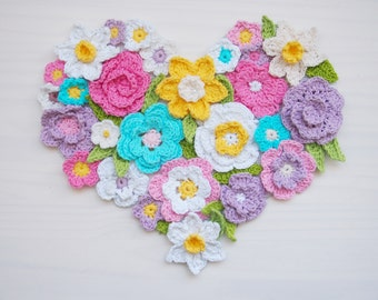 Crochet pattern Flower Heart wall decor, Spring, Easter, Valentine's day home decoration, 7 crochet ornaments,  DIY photo tutorial
