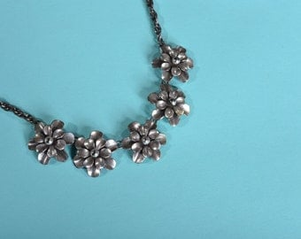 Vintage 1950s Joseff Wedding Necklace - Floral Silver Toned Flower - Bridal Fashions