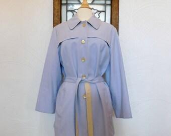 Lavender Spring Jacket Vintage Pastel Belted Cropped Trench Coat - L