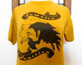 Vintage Jamaica Junction T Shirt Yellow Hippie Rasta Tshirt - M