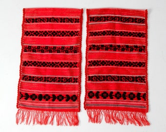 FREE SHIP 1950s southwestern wall hangings, vintage woven red wall art