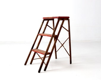 vintage metal step ladder, red step stool, folding 3 step ladder
