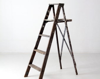 FREE SHIP  vintage painter's ladder, gray wood ladder 4.5 feet