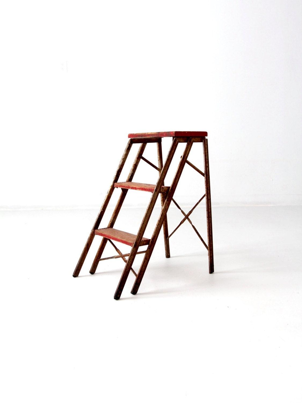 Vintage Metal Step Ladder Red Step Stool Folding 3 Step By