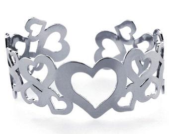 Stainless Steel Multi-Heart Cuff Bracelet                          CC-30838