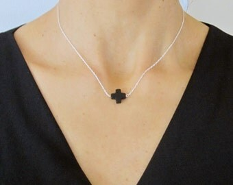 Natural Black ONYX Gemstone square CROSS sterling silver necklace chain
