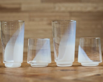 Cinderella white hand blown drinking glasses.  Set of 6