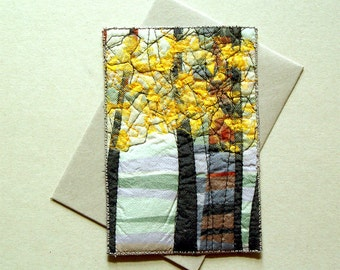 Yellow forest textile postcard, fiber art, unique gift for any occasion, one of a kind card, artful gift, abstract woodland, yellow trees