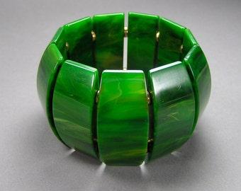 Marbled Green Bakelite Stretch Bracelet, Vintage Catalin Bracelet, Panel Bracelet, Wide, Statement Bracelet, Size Small