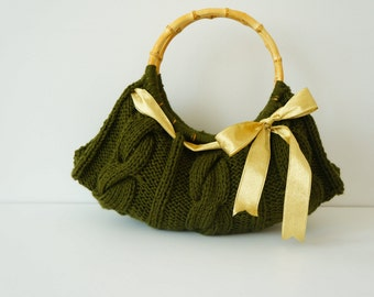 Women handbag.Hand knit bag. Knitted handbag. Women bag. Hand knit handbag.Knitted Purse.Handmade handbag Khaki handbag