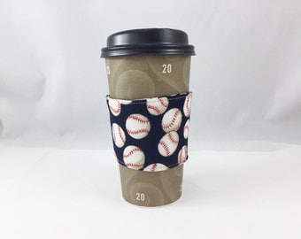 Cup Cozy Coffee Sleeve Baseball Sports  Eco Friendly Simple Sleeves Great Stocking Stuffers Office Gifts