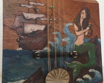 Vintage Painted Electric Cigar Box Mandolin JunkYard Dog number Ten with added Mermaid action