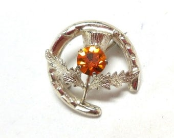 Vintage Scottish Thistle Brooch W.B.s Ward Brothers Topaz Rhinestone Sterling Silver