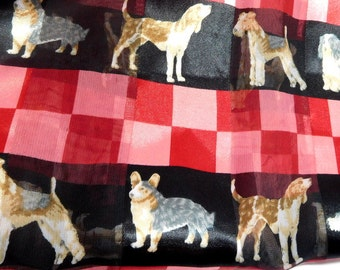 Vintage Dog Scarf X-Long/ Red Pink and Black/ Dog Parade Fun DOG lovers/Modern Fashion Forward