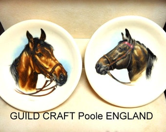 Vintage pair of Guild Crafts LTD mini plates Poole England Horses Hand painted Home Decor Collector Horse lover SALE
