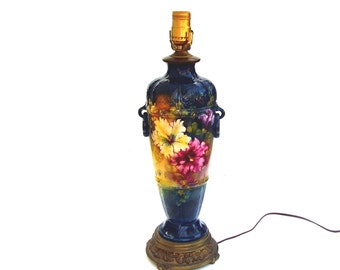 Antique Lamp Royal Bonn Vase Vintage Franz Mehlem Floral Porcelain Table Lamps Teal Blue Pink Flowers Art Nouveau