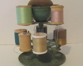 Sewing Thread Carousel Pin Cushion Turquoise Metal Vintage