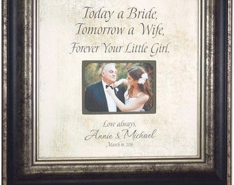 Wedding Gift For Parents, Mother of the bride, Thank you, Father or the Bride, Mom and Dad, Wedding Frame, TODAY A BRIDE, 16 X 16