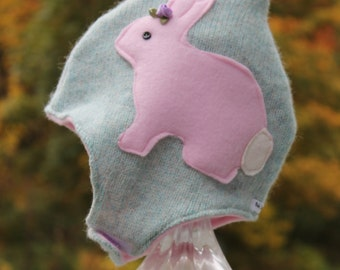 Easter Hat Toasty Gnome Hat /Bunny Baby / Toddler Hat Soft Cashmere WOOL / Fleece Gnome Pixie Hat