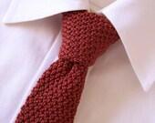 Hand Knit Silk Necktie, Red Necktie, Silk Knit Necktie, Brown Necktie, Knit Tie