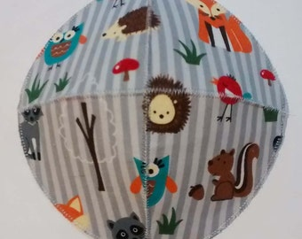 Woodland Animals Saucer Kippah Yarmulke Fox, Raccoon, Hedgehog, Owl, Squirrel