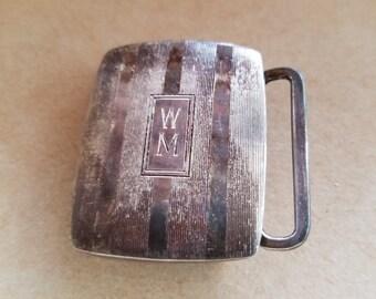"""Vintage sterling silver belt buckle initials """"W M"""" etched design"""
