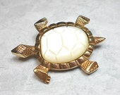 Turtle Brooch, Vintage Brooch, White Turtle, White Brooch, Mother of Pearl, Made in Germany, Gold Tone, Textured Pattern, Turtle Pin, Animal