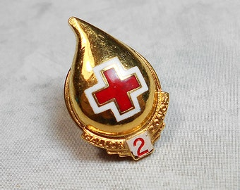 Blood Donor Award Small 2 Gallon Vintage Tack Pin Lapel Pin Clutch Back Red and Gold Tone Blood Drop Blood Bank
